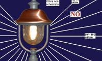 Lampione da giardino con lampada normale a vista non ammesso su tuto il territorio
