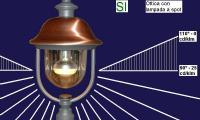 Lampione da giardino con lampada a spot a fascio controllato ammessa